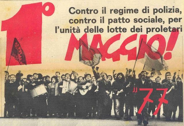 Cartel de Lotta Continua para el 1º de mayo de 1977