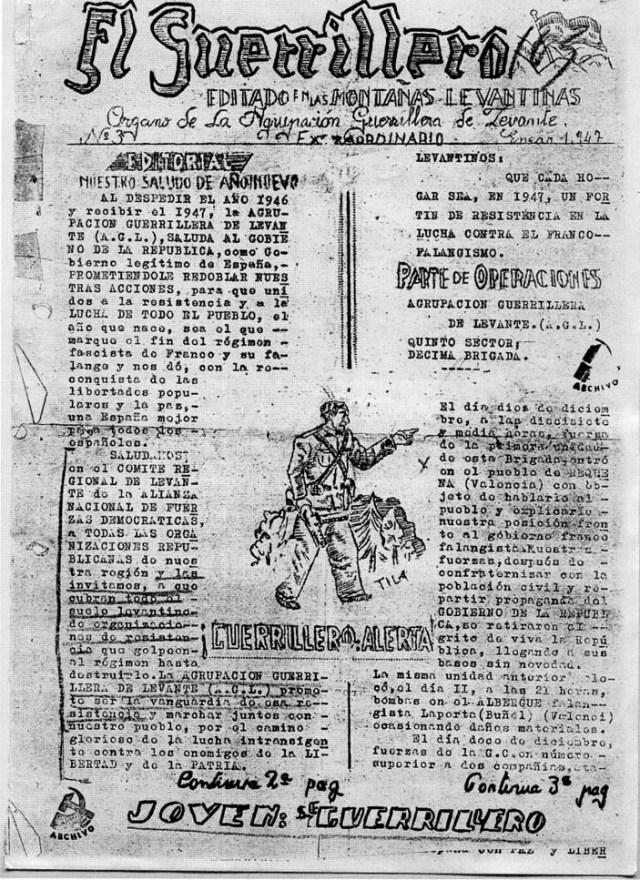 """Facsimil de la publicación """"El guerrillero"""" editado por la Agrupación Guerrillera de Levante. 1947"""