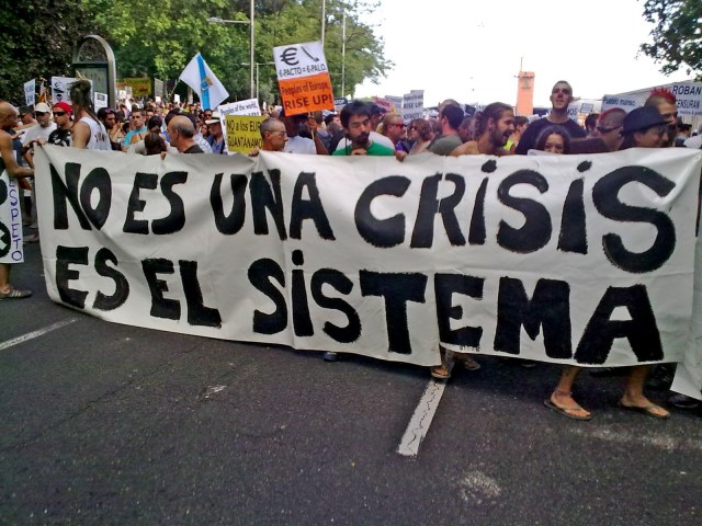 Lema de una pancarta de una de las muchas manifestaciones populares de los últimos 5 años.