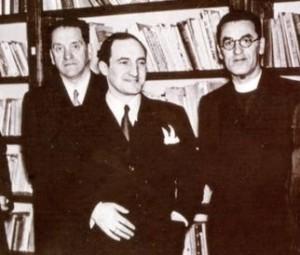Londres, Aguirre con Manuel de Irujo , y el padre Alberto Onaindía, una de las personas que intermedió entre el PNV y Franco,